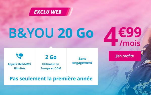 Le forfait B&YOU 20 Go valable à vie.