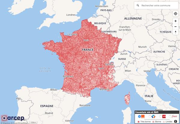 Carte suivi déploiement 3G 4G France