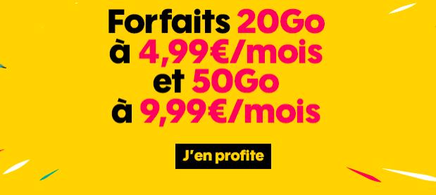 Les forfaits 20 et 50 Go de Sosh.
