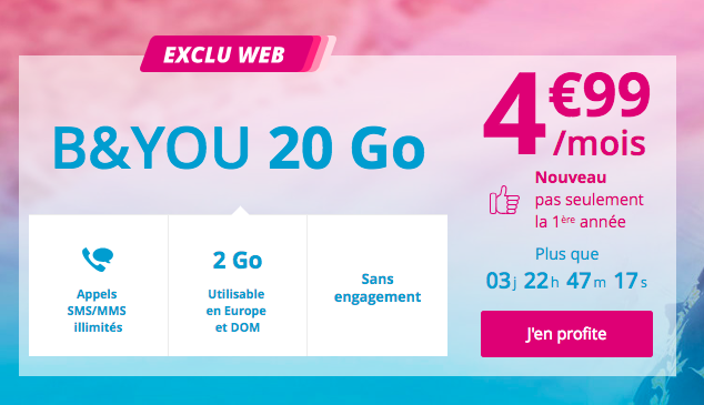 Le forfait en promo B and You 20 Go.