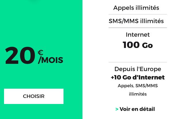 RED by SFR met en avant un forfait mobile de 100 Go.