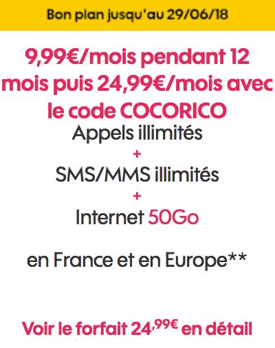 Le forfait mobile de Sosh disponible pour 9,99€/mois avec 50 Go d'Internet.