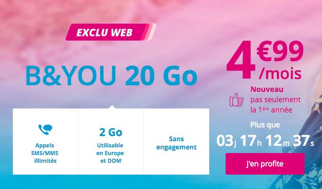 L'offre 4G à petit prix de B and You.