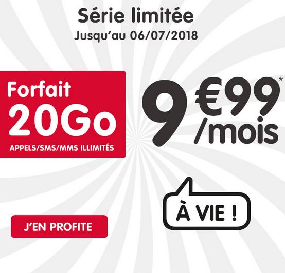Le forfait mobile de NRJ Mobile en promotion à vie pour 9,99€/mois.
