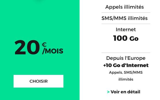 Le forfait mobile de RED by SFR dispose de 100 Go d'Internet.