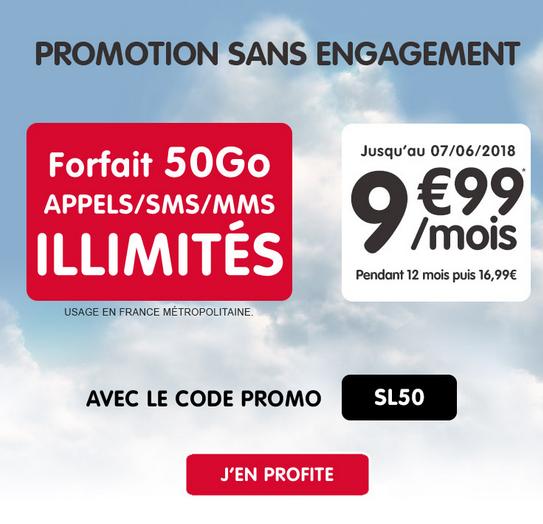 NRJ Mobile propose un bon plan sur son forfait mobile doté de 50 Go.