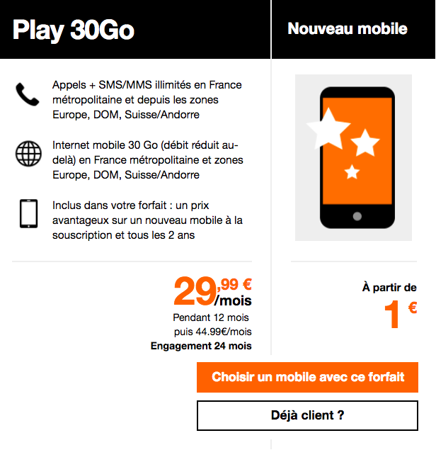 Le forfait Play 30 Go d'Orange.