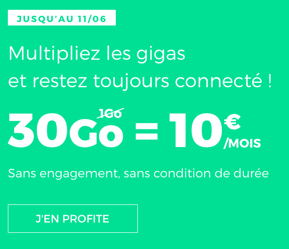Le forfait mobile de RED by SFR en promotion, avec 30 Go d'Internet.