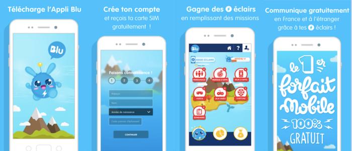 Forfait mobile gratuit avec Blu fonctionnement application.