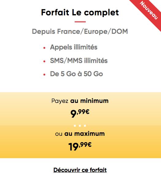 Le forfait mobile de Prixtel, Le complet.