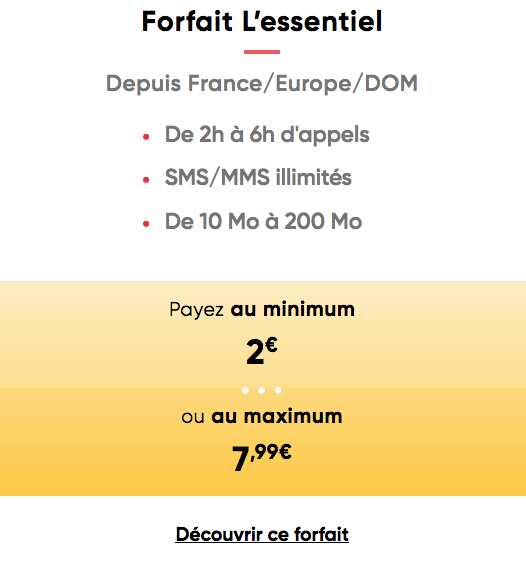 Prixtel adapte sa consommation sur le forfait mobile disponible initialement à 2€/mois.