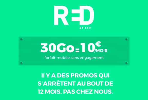 La promotion de RED by SFR sur son forfait 30 Go