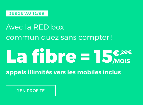 La box internet de RED by SFR en promotion à 15€/mois.