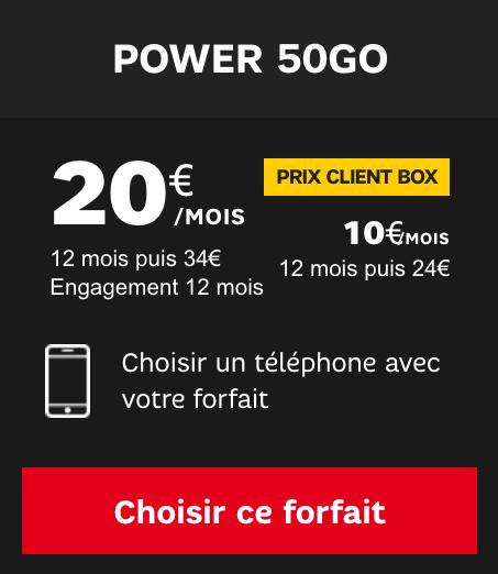 SFR met en avant une promotion sur le forfait mobile Power 50 Go.