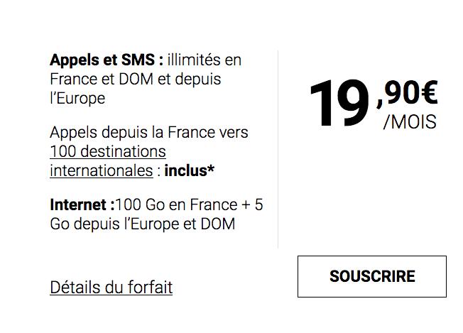 Le forfait mobile de Syma Mobile dispose de 100 Go d'Internet.