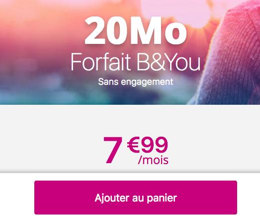 Le forfait mobile sans engagement de Bouygues Télécom et B&YOU à 7,99€/mois.