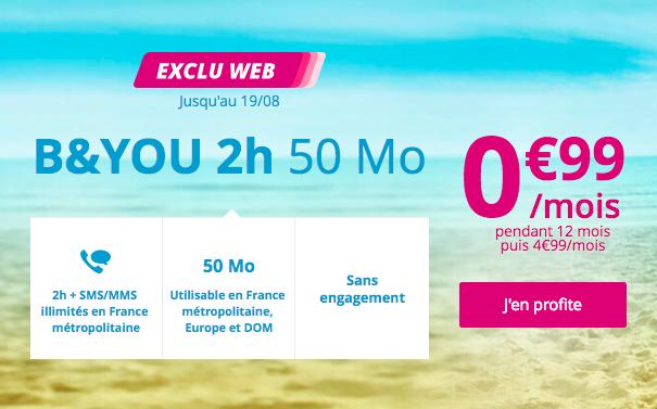 L'offre à 0,99€ de B&YOU.