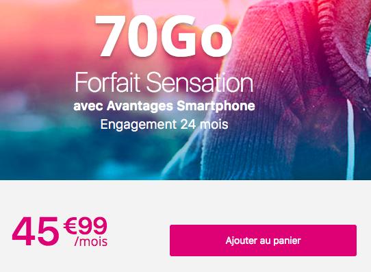 Le forfait Sensation 70 Go de Bouygues Télécom.