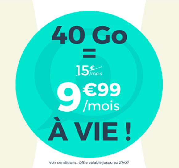 Le forfait spécial 40 Go à 9,99€ de Cdiscount Mobile.