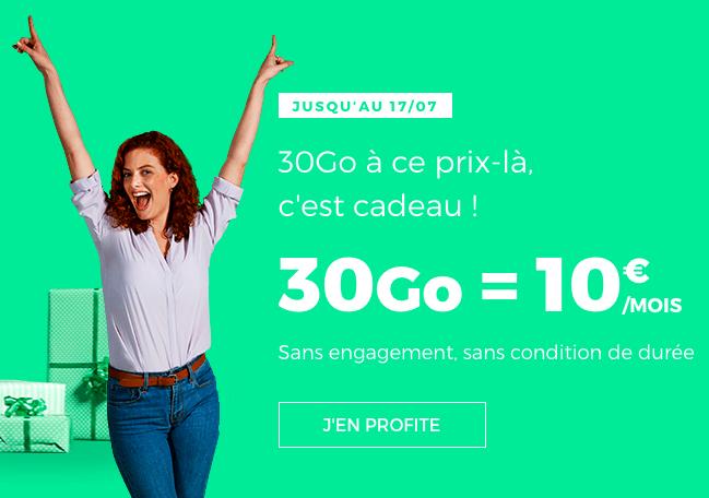 L'offre 30 Go à 10€ de RED by SFR.