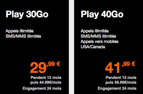 Les forfaits Orange Play 30 et 40 Go.