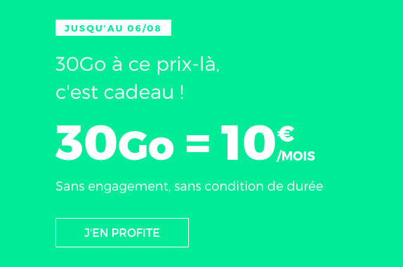 RED by SFR propose un forfait 30 Go.