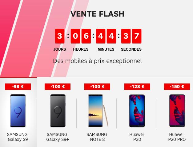 Les 5 smartphones en vente flash avec SFR.