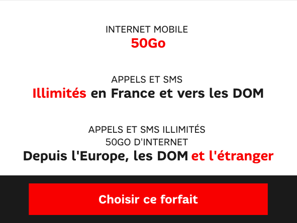 L'abonnement Power 50 Go de SFR.
