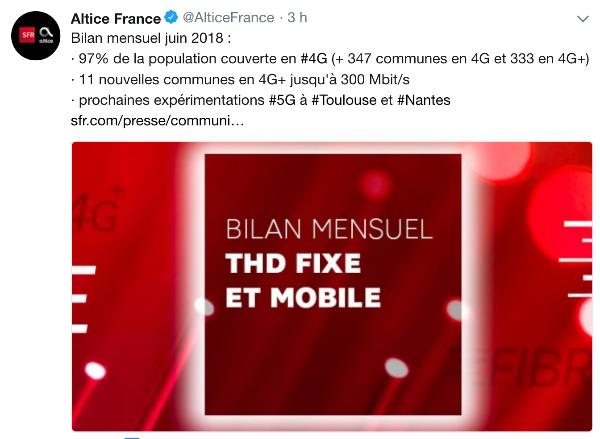 SFR twitt bilan mensuel 4G.