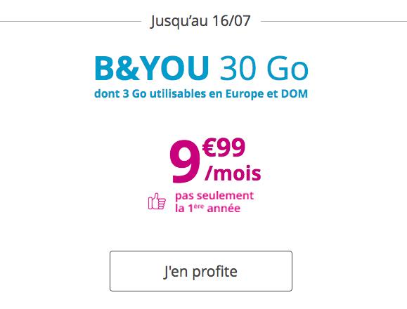 Le forfait mobile de B&YOU pour 9,99€/mois.