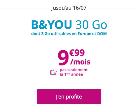 Le forfait mobile B&YOU et Bouygues Télécom à 9,99€/mois pour 30 Go.