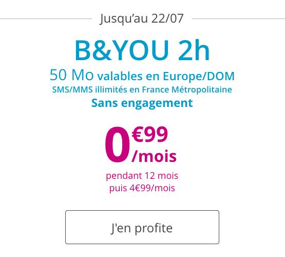 Le forfait promotionnel de Bouygues Télécom avec 2h d'appels.