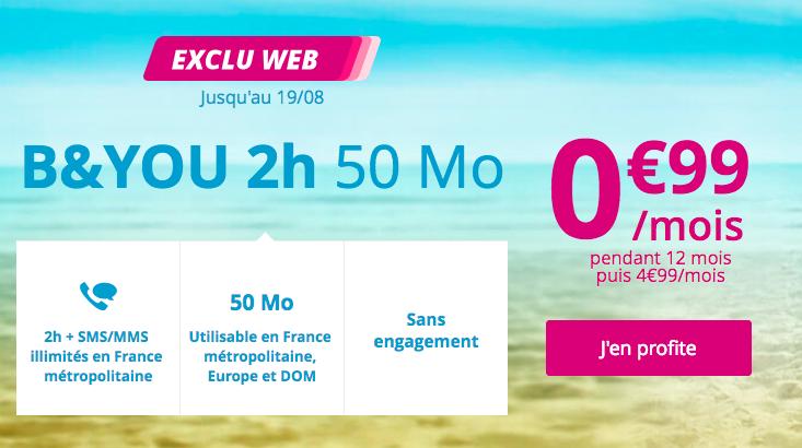 La promo sur le forfait B and You de Bouygues Telecom.