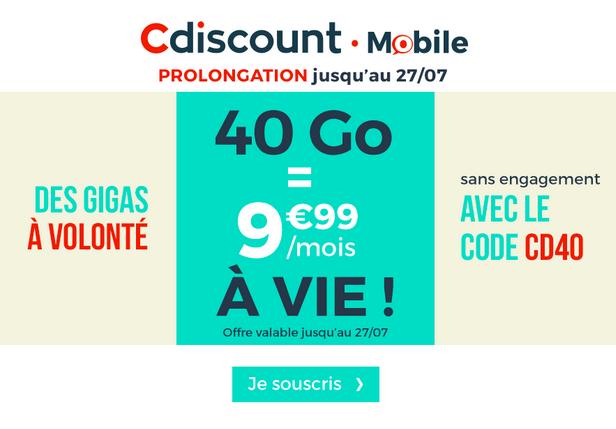 Le forfait mobile de Cdiscount Mobile à 9,99€/mois pour 40 Go.
