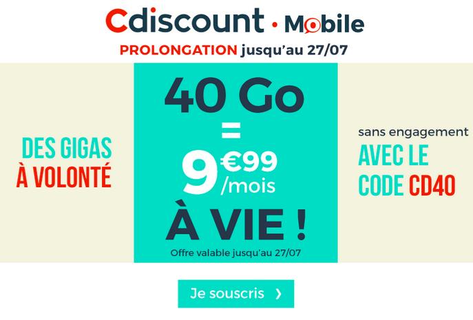 Le forfait pas cher de Cdiscount Mobile avec 40 Go pour 9,99€/mois.