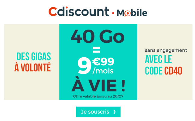 Cdiscount Mobile Forfait 4G pas cher code promo