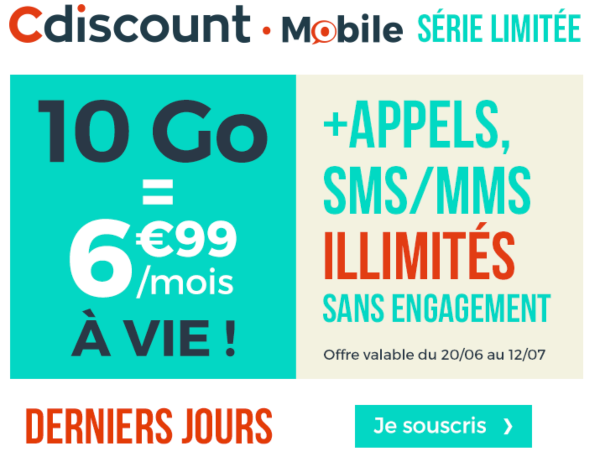 Cdiscount Mobile promotion forfait 10 Go