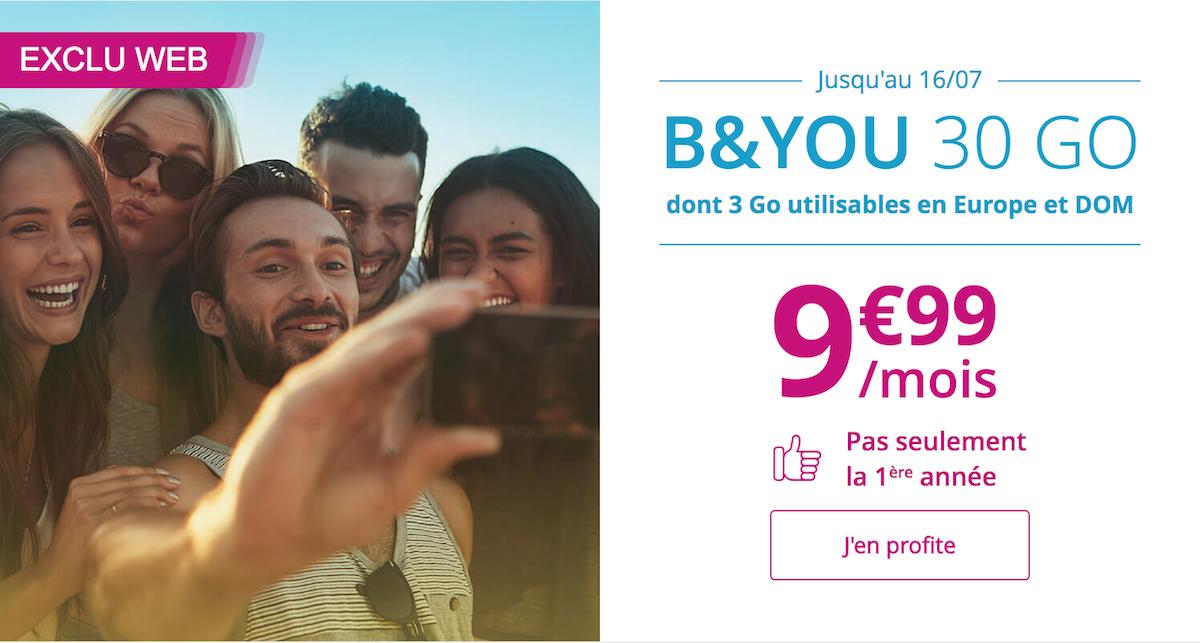 Forfait Mobile B and YOU de Bouygues Telecom 30 Go à 10 euros par mois