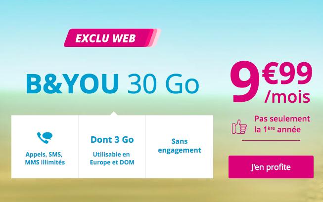 L'offre promo sur le forfait B and YOU 30 Go