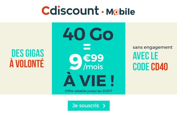 Le forfait mobile promotionnel de Cdiscount Mobile.
