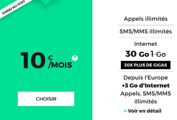 Le forfait mobile de RED by SFR pour 10€ par mois avec 30 go en 4G.