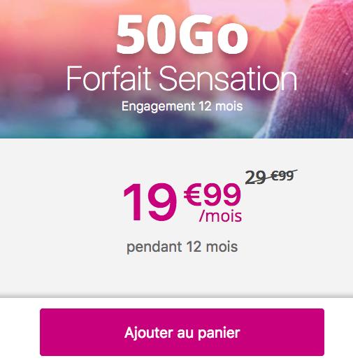Bouygues Télécom et son forfait mobile Sensation 50 Go.
