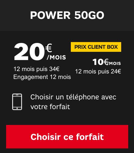 Forfait mobile Power 50 go de SFR.