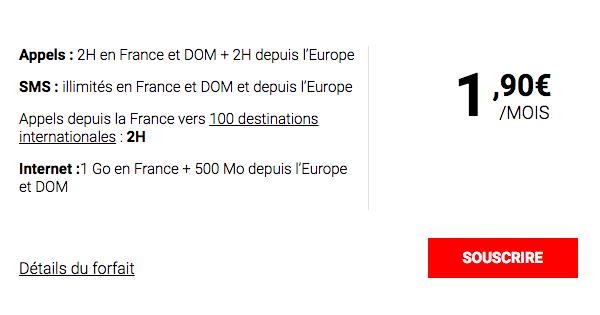 le forfait pas cher à moins de 2 euros de Syma Mobile.