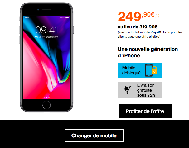 iPhone 8 dès 249,90€ avec Orange.