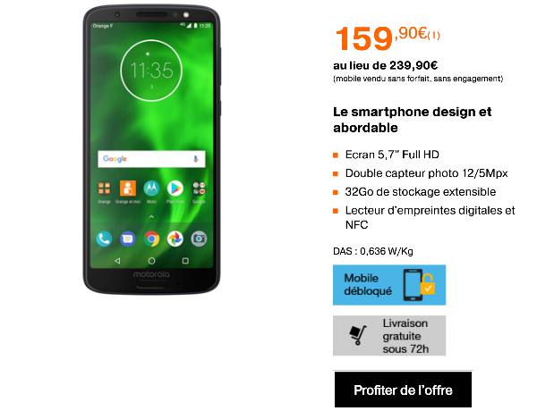 Motorola Moto G6 pas cher chez Orange vente flash
