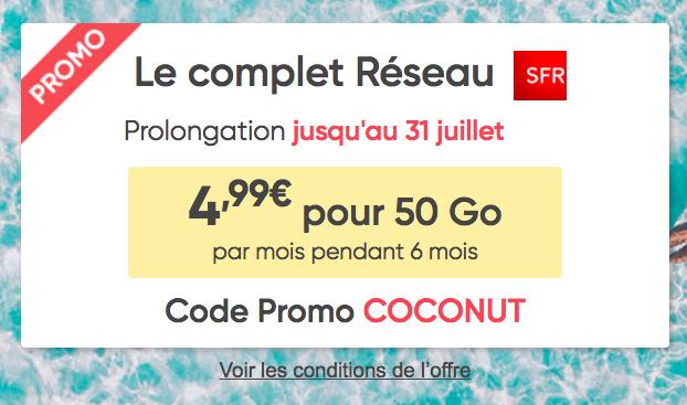 L'abonnement 50 Go à 4,99€ de Prixtel.