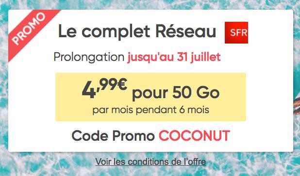 La promotion de Prixtel, concurrençant RED by SFR sur le forfait mobile.