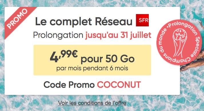 Prixtel et le forfait mobile sans engagement en promotion avec 50 Go en 4G.