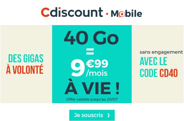réduction forfait 40 Go Cdiscount Mobile.